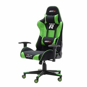 Selsey Racer GTR – Chaise gamer / Fauteuil de bureau avec Coussins réglables 71x55x133 (noir / vert)