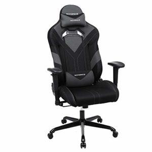 Songmics Chaise gamer Fauteuil de bureau Chaise pour ordinateur hauteur réglable noir + gris RCG13BK