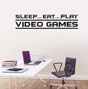 Sticker Mural Manger.Sommeil.Jouer Jeux Vidéos Chambre D'Enfants Décor Pvc 85X20.1Cm