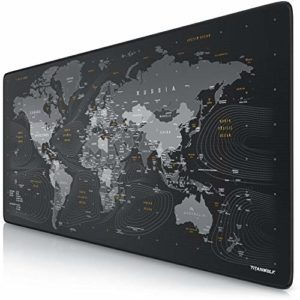 TITANWOLF – Tapis de Souris Gaming Global 900x400mm – sous-Main Bureau planisphère Gamer Extra Large XXL en Tissu, Base antidérapante – Carte du Monde – pour Tous Types de Souris et Claviers