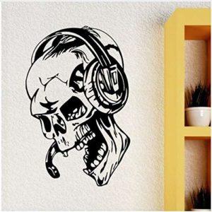 Gamer Stickers Muraux Crâne Musique Casque Wall Decal Jeu Vidéo Style Maison Garçons Chambre Décoration Amovible Gamer Papier Peint 42X64 Cm