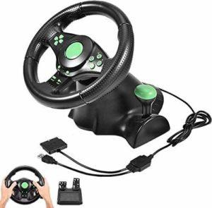 Lilis Volant de course pour PC Gaming Racing Pédales de volant avec rotation à 180 degrés pour 360 / PS2 / PS3 / PC