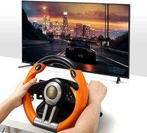 Racing Wheel – Jeu Volant avec Pédale Responsive – Compatible avec X-One, PS4, PS3, Switch, PC Gaming Wheel