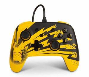 Manette filaire améliorée PowerA pour Nintendo Switch – Éclairs Pikachu, manette de jeu, manette de jeu vidéo filaire, manette de jeu