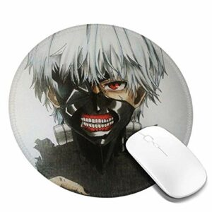 Yuanmeiju Tapis de Souris Rond Tokyo Kaneki Customized Designs Non Slip Rubber Base Gaming Mouse Pads for Mac,7.9×7.9 in Pc, Computers. Ideal for Working Or Game