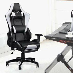 Chaise Gaming Inclinable avec Repose-Pied, Fauteuil de Bureau Gamer, Fauteuil Gaming Ergonomique, avec Appui-tête et Coussin Lombaire,l'angle d'inclinaison est de 90-170 °, la Hauteur est réglable