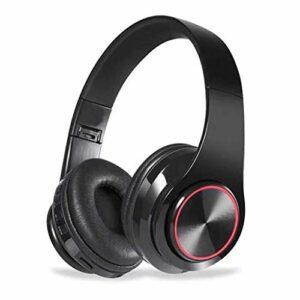 Chef Turk LED sans Fil Bluetooth Headset Casque Pliable avec Casque Gaming Stéréo Microphone for Game/Tablet/PC (Color : Black)