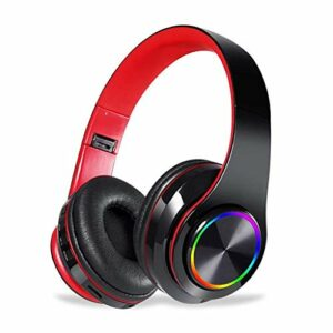 Chef Turk LED sans Fil Bluetooth Headset Casque Pliable avec Casque Gaming Stéréo Microphone for Game/Tablet/PC (Color : Black+Red)