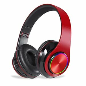 Chef Turk LED sans Fil Bluetooth Headset Casque Pliable avec Casque Gaming Stéréo Microphone for Game/Tablet/PC (Color : Red)