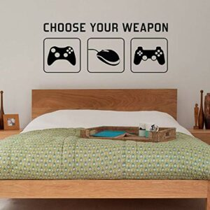 «CHOOSE YOUR WEAPON» Video Game Gaming Vinyl Decal Wall Sticker Mural – Kids Children Teenager Teens Bedroom, Man Cave Room Art Ideas Canvas (PC, XBOX, PLAYSTATION Game Controllers) – 1 METRE