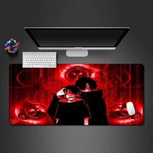 Grand Tapis de Souris Gamer Tapis de Souris Gamer 1000x500x3mm Garçon Anime Ninja Rouge Tapis de Clavier pour Bureau Base en Caoutchouc antidérapant résistant à l'eau, Bord Cousu, pour Jeux vidéos ou