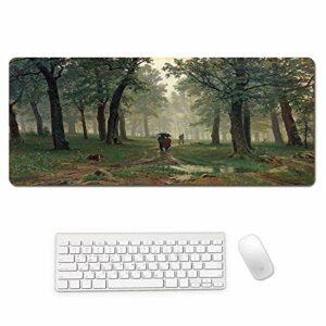 grand tapis de souris gamer Tapis de souris Gamer 1200x600x3mm Bois vert chemin boueux tapis de clavier pour bureau base en caoutchouc antidérapant résistant à l'eau, bord cousu, pour jeux vidéos ou t