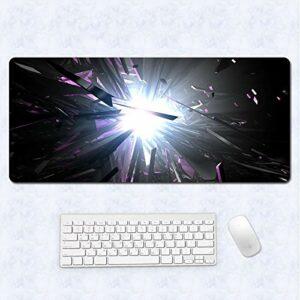 grand tapis de souris gamer Tapis de souris Gamer 1200x600x3mm Cristal de soleil créatif tapis de clavier pour bureau base en caoutchouc antidérapant résistant à l'eau, bord cousu, pour jeux vidéos ou