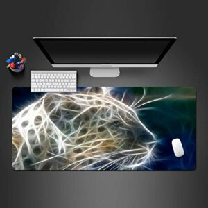 grand tapis de souris gamer Tapis de souris Gamer 1200x600x3mm Léopard animal brillant tapis de clavier pour bureau base en caoutchouc antidérapant résistant à l'eau, bord cousu, pour jeux vidéos ou t