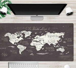 grand tapis de souris gamer Tapis de souris Gamer 700x300x3mm Carte du monde vintage tapis de clavier pour bureau base en caoutchouc antidérapant résistant à l'eau, bord cousu, pour jeux vidéos ou tra
