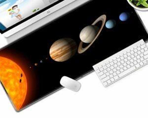 grand tapis de souris gamer Tapis de souris Gamer 800x300x3mm Voie lactée Soleil Jupiter tapis de clavier pour bureau base en caoutchouc antidérapant résistant à l'eau, bord cousu, pour jeux vidéos ou