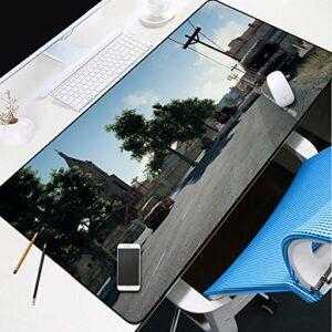 grand tapis de souris gamer Tapis de souris Gamer 800x300x3mm Voiture rétro ville ciel bleu tapis de clavier pour bureau base en caoutchouc antidérapant résistant à l'eau, bord cousu, pour jeux vidéos