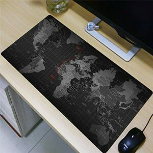 grand tapis de souris gamer Tapis de souris Gamer 800x400x3mm Carte du monde noir tapis de clavier pour bureau base en caoutchouc antidérapant résistant à l'eau, bord cousu, pour jeux vidéos ou travai