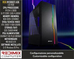 PC Gaming Rei NV3060TI A36 RYZEN 5 3600 – MB 450 ATX- RTX 3060 TI 8 Go – 8 Go DDR4 3200 MHz – 256 Go NVME- 650 WATT BRONZE