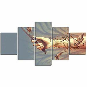 PHJHQY 5 pièce HD Art Abstrait Papillon Photo Le dernier d'entre Nous Jeu vidéo Affiche Wall Sticker Toile peintures pour la décoration Murale Art Mural,Impression sur Toile Dessin