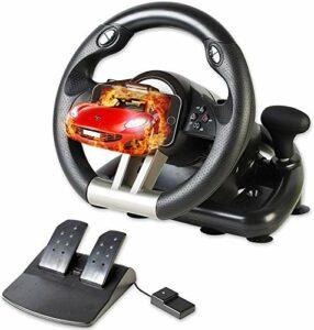 Serafim Volant de course R1+ pour Xbox One, PS4, PC, Switch, PS3, iOS, Android – Volant vibrant Xbox One, PS4, PC Gaming Wheel – Volant avec pédale réactive
