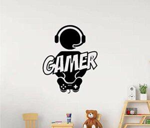 Stickers Muraux Stickers Murale Sculpté Gamer Vinyle Papier Peint Mural Pour Enfants Chambre Stickers Garçons Gaming Affiche Décor Porte Autocollant 43X53 Cm