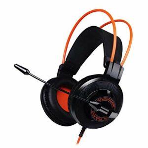 VSander Gaming Headset 7.1 Surround 3,5 Mm for Casque avec Microphone Réducteur De Bruit Micro for Ordinateur PC Portable Gamer, Coussin De Tête Suspendu (Color : Orange)