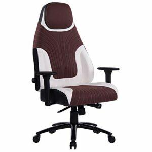 Wolmics 8297 Chaise de gaming avec support lombaire réglable, base en métal robuste et accoudoirs en alliage d'aluminium, chaise de bureau pour jeux vidéo avec dossier haut en cuir PU