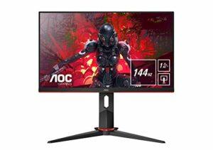 AOC Écran gamer 24G2U/BK 60cm (23,8pouces) (FHD, HDMI, DisplayPort, FreeSync, temps de réponse de 1ms, 144Hz, 1920×1080) noir/rouge