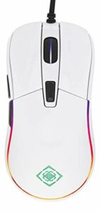 Deltaco Gaming Souris Gamer Glossy PC Filaire Programmable Ambidextre – 9 Modes RGB – PPP/DPI 400 à 5000 – 6 Boutons (Molette incluse) – Légère 93 g – Blanc Brillant