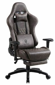 Dowinx Chaise Gaming Ergonomique Style de Course avec Support et Coussin de Massage Lombaire Fauteuil de Bureau pour Ordinateur en Cuir Polyuréthane avec Repose-Pieds Rétractable Marron