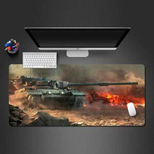 grand tapis de souris gamer Tapis de souris Gamer 1000x500x3mm Char de guerre blindé tapis de clavier pour bureau base en caoutchouc antidérapant résistant à l'eau, bord cousu, pour jeux vidéos ou tra