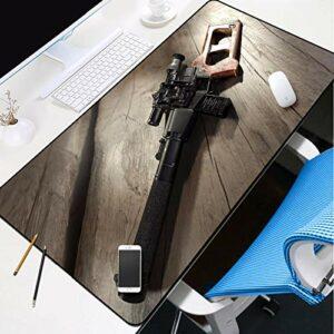 grand tapis de souris gamer Tapis de souris Gamer 1000x500x3mm Jeu de mitraillette noire tapis de clavier pour bureau base en caoutchouc antidérapant résistant à l'eau, bord cousu, pour jeux vidéos ou