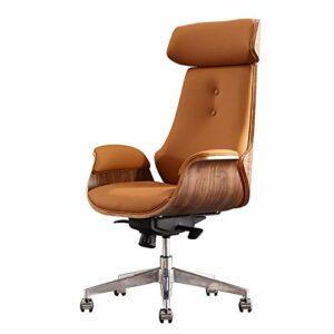 GULIYUN Chaise de Jeu, Chaise pivotante de Jeu vidéo, Chaise de Bureau Ergonomique, avec accoudoirs et Grain de Noyer, la Hauteur de l'assise est réglable et inclinable