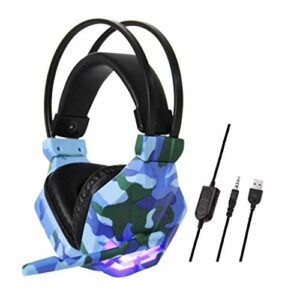 Hancoc Camouflage Filaire Casque, Casque-Casque, Casque Gaming for Les Jeux Vidéo, 3,5 Mm Over-Ear Stereo Gaming Micro Casque for N-Switch (Color : Blue)