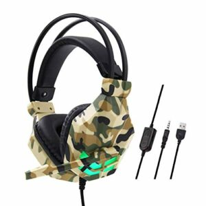 Hancoc Camouflage Filaire Casque, Casque-Casque, Casque Gaming for Les Jeux Vidéo, 3,5 Mm Over-Ear Stereo Gaming Micro Casque for N-Switch (Color : Yellow)