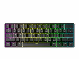 HK Gaming GK61 Clavier mécanique Hot-Swap Rétroéclairage RGB LED 61 touches – Layout ANSI US ( Noir , Gateron Optique Brown)