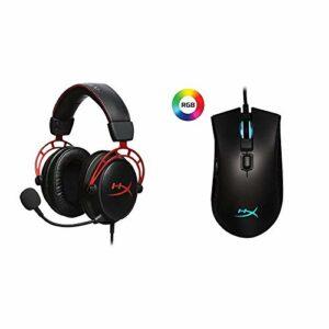 HyperX HX-HSCA-RD Cloud Alpha – Casque Gaming avec Control Audio intégré & HX-MC003B Pulsefire FPS Pro – Souris de Jeu RGB