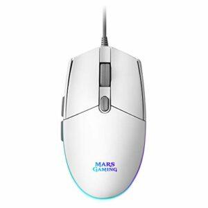 Mars Gaming MMGW, Souris Gamer Blanche, RGB Flow, Anti-Glisse, Mac/Windows/Linux