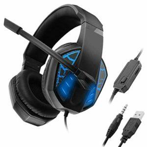 QCSMegy Casque 3,5 Mm + USB Gaming Headset, Stereo Surround Casque avec Réduction du Bruit Microphone Et Effet Lumineux for PC De Bureau Ordinateur Portable (Color : Blue)
