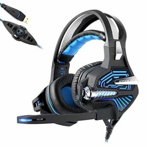QCSMegy Casque Casque Gaming – USB 7.1 Surround Son Stéréo Vibration Casque avec Microphone Suppresseur De Bruit Actif Deep Bass for Ordinateur PC, Bleu/Rouge (Color : Blue)