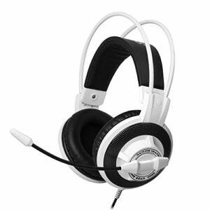 QCSMegy Casque Gaming Headset 7.1 Surround 3,5 Mm for Casque avec Microphone Réducteur De Bruit Micro for Ordinateur PC Portable Gamer, Coussin De Tête Suspendu (Color : White)