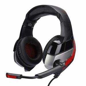 QCSMegy Casque USB + 3,5 Mm, Tête-Mounted Gaming Headset, Fil Lumineux Casque for for PS4, avec Confortables Et Earmuffs Bandeau Réglable, Annulation De Bruit Microphone, avec LED