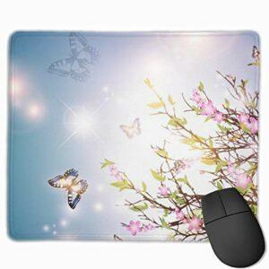 Tapis de souris avec fond de printemps lumineux 25 x 30 cm Base en caoutchouc antidérapant pour gamer, bureau et maison
