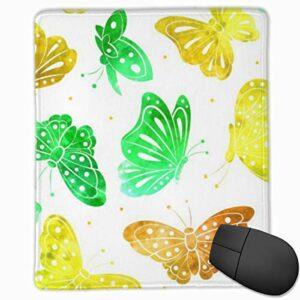 Tapis de souris en caoutchouc antidérapant motif papillon vintage pour gamer, bureau et maison
