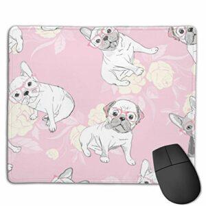 Tapis de souris gamer – Motif chien bouledogue français – Cœur – Lunettes de soleil – 30 x 24 cm – Base antidérapante – Surface lisse