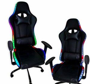 ZStyle Chaise de gaming pour bureau, jeux vidéo, inclinable, rembourrée, ergonomique, bureau, ordinateur Playstation RTX GTX (GTX, LED RGB)