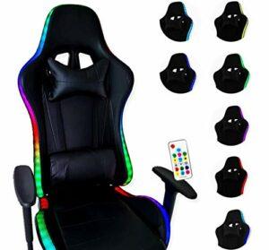 ZStyle Fauteuil de gaming LED pour bureau, jeux vidéo, inclinable, rembourré, ergonomique, bureau, ordinateur Playstation GTX (sans Powerbank)