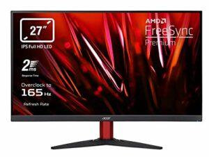 Acer Nitro KG272Sbmiipx Moniteur Gaming FreeSync Premium 27″, écran IPS FHD, 165 Hz Overclocking, 2 ms, HDMI (2.0), DP (1.2), Lum 250 CD/m2, ZeroFrame, Audio Out, Speaker Intégrés