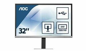 AOC Écran gamer Q3277PQU 81,3cm (32pouces) (VGA, DVI, HDMI, USB, DisplayPort, dalle MVA, 2560x1440, 60Hz, 5ms, pivot) [Classe énergétique C] noir